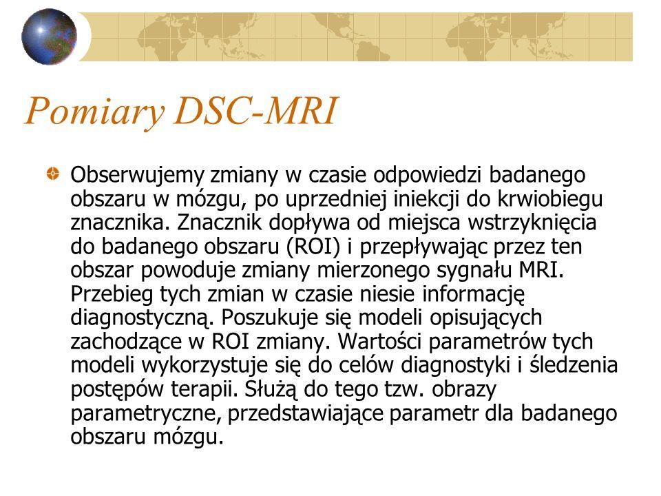 Pomiary DSC-MRI Obserwujemy zmiany w czasie odpowiedzi badanego obszaru w mózgu, po uprzedniej iniekcji do krwiobiegu znacznika. Znacznik dopływa od m