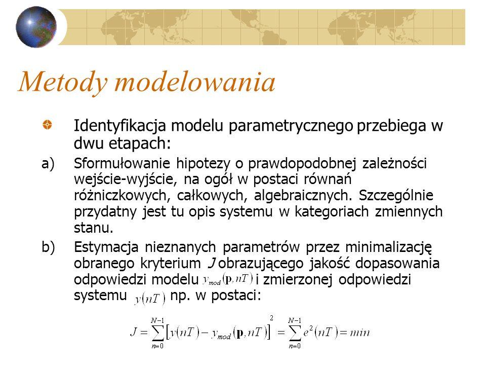 Metody modelowania Identyfikacja modelu parametrycznego przebiega w dwu etapach: a)Sformułowanie hipotezy o prawdopodobnej zależności wejście-wyjście,