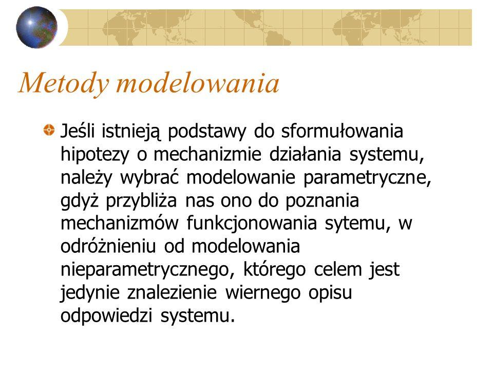Metody modelowania Jeśli istnieją podstawy do sformułowania hipotezy o mechanizmie działania systemu, należy wybrać modelowanie parametryczne, gdyż pr