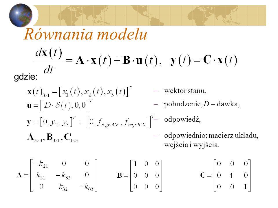 Równania modelu gdzie: –wektor stanu, –pobudzenie, D – dawka, –odpowiedź, –odpowiednio: macierz układu, wejścia i wyjścia. 1