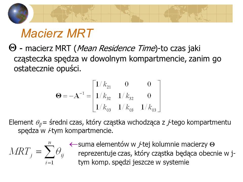 Macierz MRT - macierz MRT (Mean Residence Time)-to czas jaki cząsteczka spędza w dowolnym kompartmencie, zanim go ostatecznie opuści. Element ij = śre