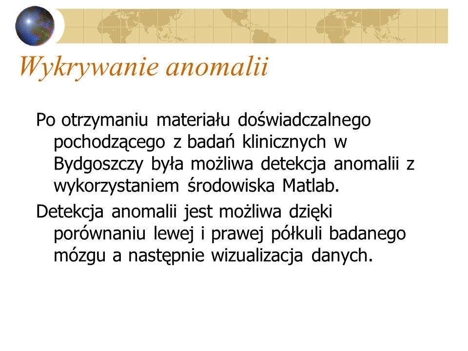 Wykrywanie anomalii Po otrzymaniu materiału doświadczalnego pochodzącego z badań klinicznych w Bydgoszczy była możliwa detekcja anomalii z wykorzystan