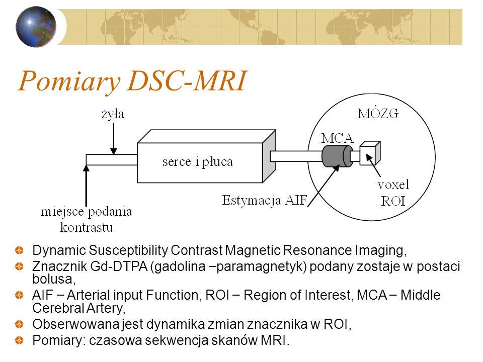 Pomiary DSC-MRI -nieinwazyjny pomiar przepływu krwi mózgowej -wykorzystujemy znacznik (paramagnetyk, najczęściej pochodna gadoliny, rzadziej manganu) umożliwiający pomiar perfuzji z wykorzystaniem dynamicznych badań MRI -podanie bolusa znacznika Gd-DTPA (gadolina) i następnie śledzimy T2 zależnych zobrazowań MR -T2 obrazuje oddziaływania między dipolami w tkankach.