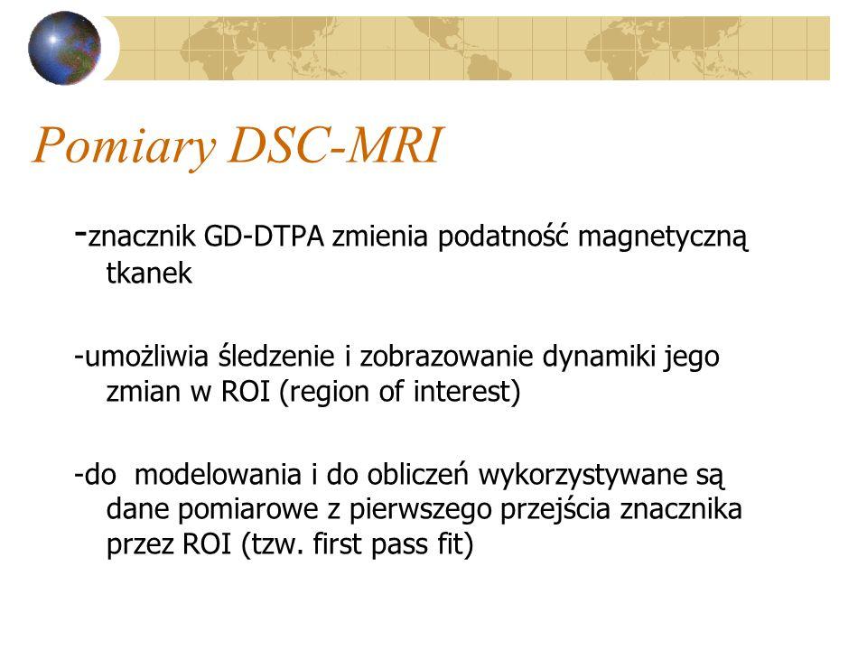 Pomiary DSC-MRI - znacznik GD-DTPA zmienia podatność magnetyczną tkanek -umożliwia śledzenie i zobrazowanie dynamiki jego zmian w ROI (region of inter