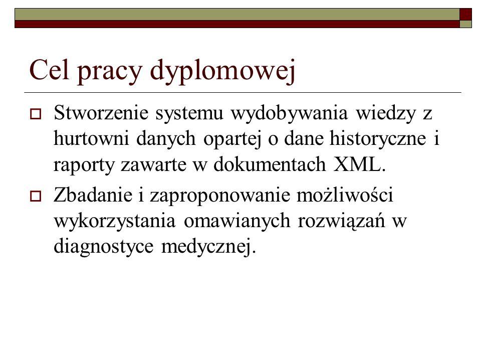 Cel pracy dyplomowej Stworzenie systemu wydobywania wiedzy z hurtowni danych opartej o dane historyczne i raporty zawarte w dokumentach XML. Zbadanie
