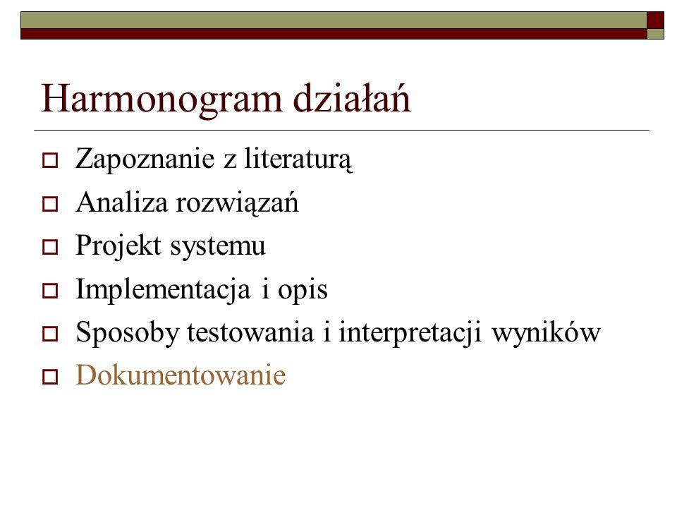 Harmonogram działań Zapoznanie z literaturą Analiza rozwiązań Projekt systemu Implementacja i opis Sposoby testowania i interpretacji wyników Dokument