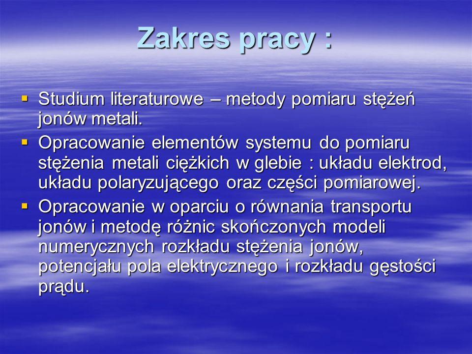 Zakres pracy : Studium literaturowe – metody pomiaru stężeń jonów metali. Studium literaturowe – metody pomiaru stężeń jonów metali. Opracowanie eleme