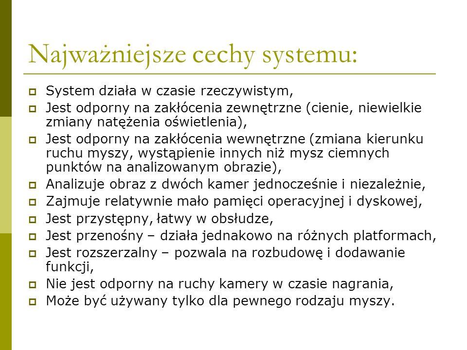 Najważniejsze cechy systemu: System działa w czasie rzeczywistym, Jest odporny na zakłócenia zewnętrzne (cienie, niewielkie zmiany natężenia oświetlen