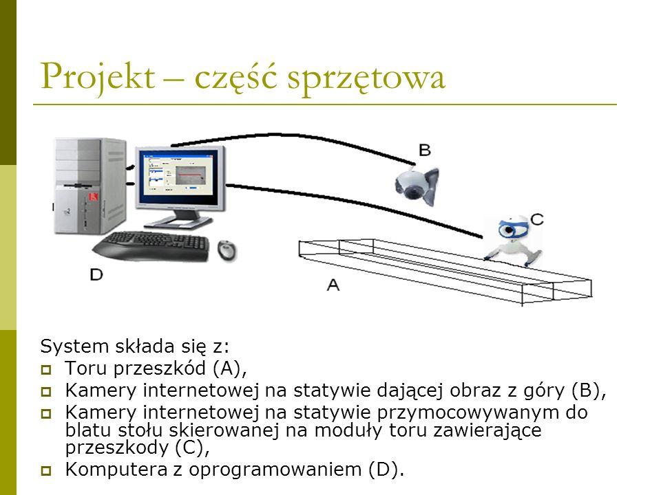 Projekt – część sprzętowa System składa się z: Toru przeszkód (A), Kamery internetowej na statywie dającej obraz z góry (B), Kamery internetowej na st