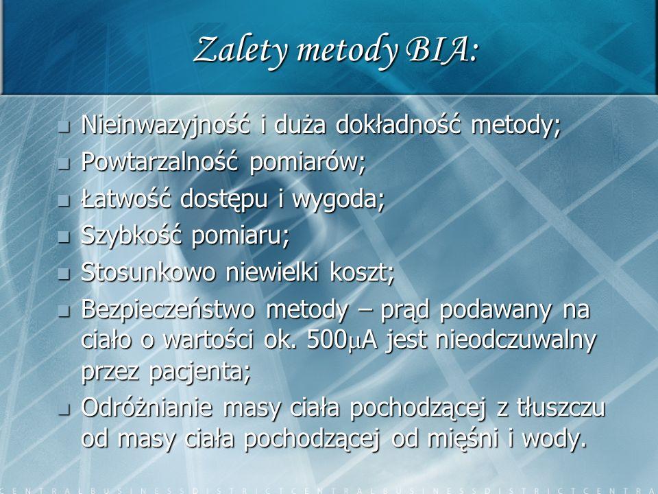 Inne metody pomiaru tkanki tłuszczowej DEXA (Dual Energy X-Ray Absorptiometry) DEXA (Dual Energy X-Ray Absorptiometry) Densytometria – metoda wypartej wody Densytometria – metoda wypartej wody Bezpośrednia metoda pomiaru – metoda pomiaru fałdów skórnych Bezpośrednia metoda pomiaru – metoda pomiaru fałdów skórnych BMI (Body Mass Index) BMI (Body Mass Index) MRI (Magnetic Resonance Imaging) MRI (Magnetic Resonance Imaging) NIR (Near Infra-Red) NIR (Near Infra-Red)