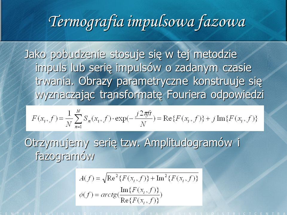 Termografia impulsowa fazowa Jako pobudzenie stosuje się w tej metodzie impuls lub serię impulsów o zadanym czasie trwania. Obrazy parametryczne konst