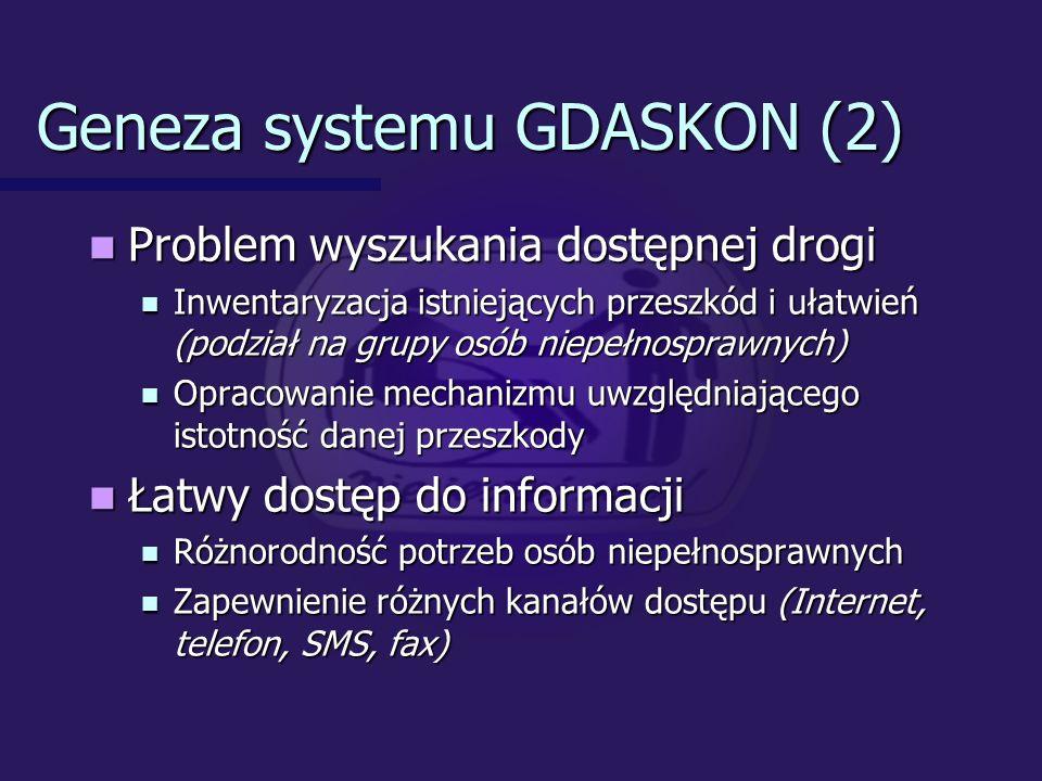 Geneza systemu GDASKON (2) Problem wyszukania dostępnej drogi Problem wyszukania dostępnej drogi Inwentaryzacja istniejących przeszkód i ułatwień (podział na grupy osób niepełnosprawnych) Inwentaryzacja istniejących przeszkód i ułatwień (podział na grupy osób niepełnosprawnych) Opracowanie mechanizmu uwzględniającego istotność danej przeszkody Opracowanie mechanizmu uwzględniającego istotność danej przeszkody Łatwy dostęp do informacji Łatwy dostęp do informacji Różnorodność potrzeb osób niepełnosprawnych Różnorodność potrzeb osób niepełnosprawnych Zapewnienie różnych kanałów dostępu (Internet, telefon, SMS, fax) Zapewnienie różnych kanałów dostępu (Internet, telefon, SMS, fax)