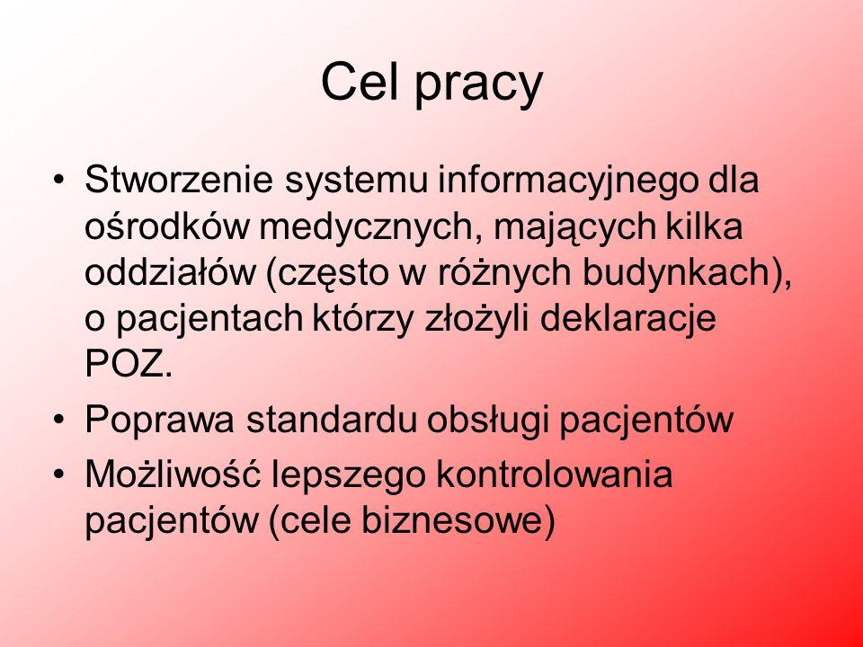 Cel pracy Stworzenie systemu informacyjnego dla ośrodków medycznych, mających kilka oddziałów (często w różnych budynkach), o pacjentach którzy złożyl