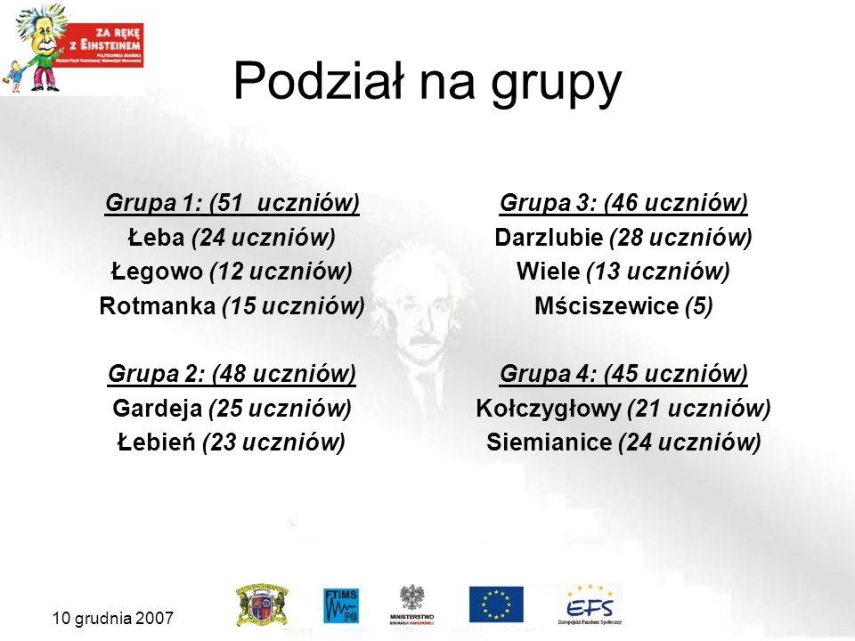 Podział na grupy Grupa 1: (51 uczniów) Łeba (24 uczniów) Łegowo (12 uczniów) Rotmanka (15 uczniów) Grupa 2: (48 uczniów) Gardeja (25 uczniów) Łebień (23 uczniów) Grupa 3: (46 uczniów) Darzlubie (28 uczniów) Wiele (13 uczniów) Mściszewice (5) Grupa 4: (45 uczniów) Kołczygłowy (21 uczniów) Siemianice (24 uczniów) 10 grudnia 2007