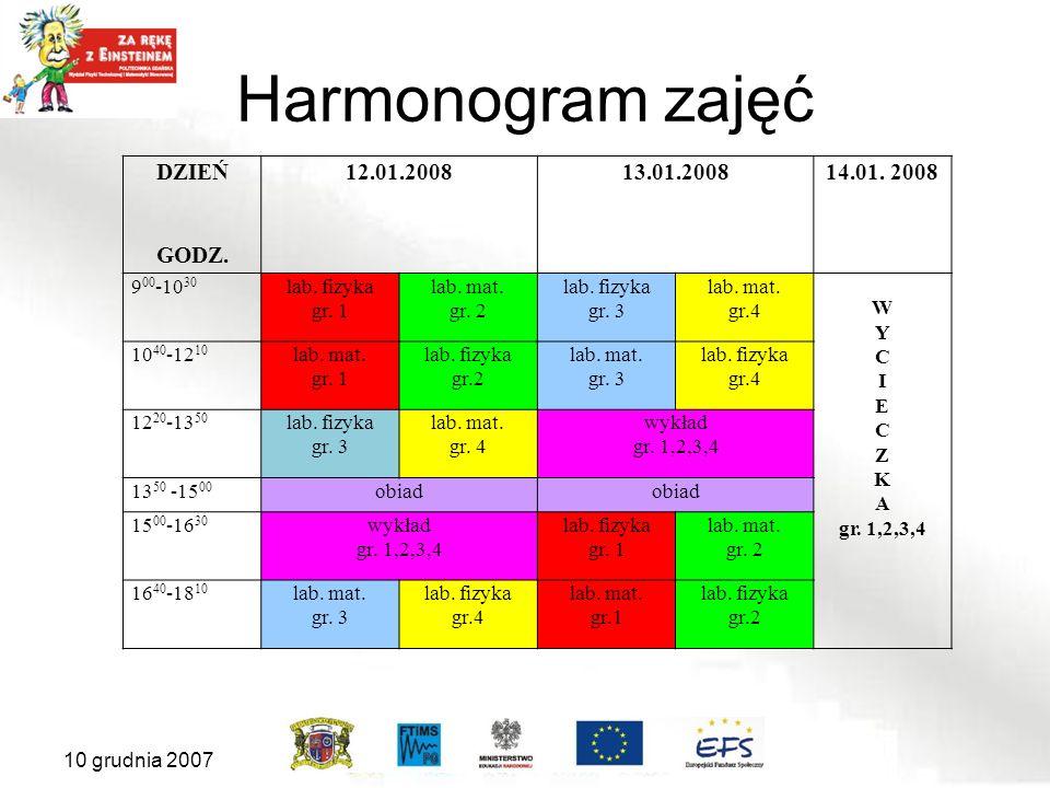 Harmonogram zajęć DZIEŃ GODZ.12.01.200813.01.200814.01.
