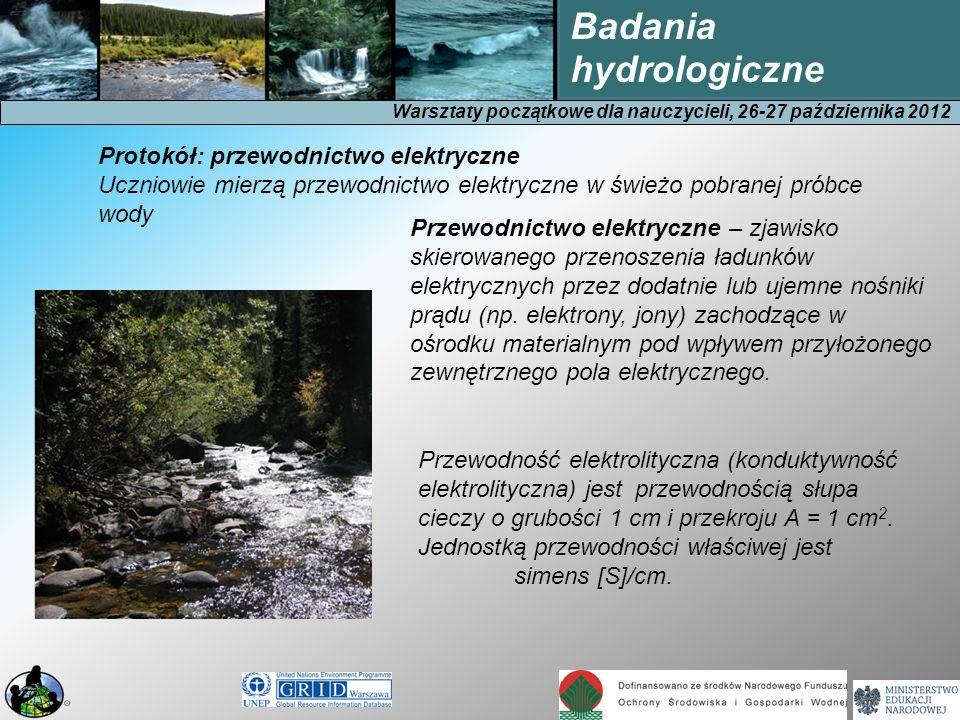 Warsztaty początkowe dla nauczycieli, 26-27 października 2012 Badania hydrologiczne Przewodnictwo elektryczne – zjawisko skierowanego przenoszenia ład
