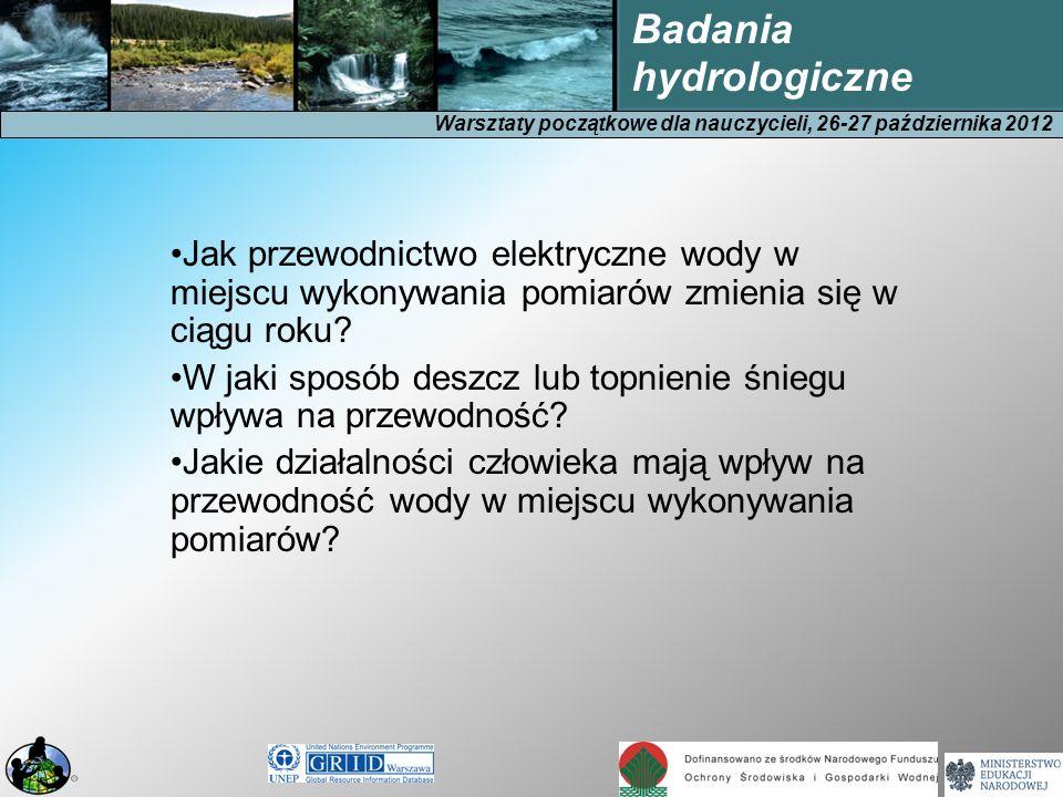 Warsztaty początkowe dla nauczycieli, 26-27 października 2012 Badania hydrologiczne Jak przewodnictwo elektryczne wody w miejscu wykonywania pomiarów zmienia się w ciągu roku.