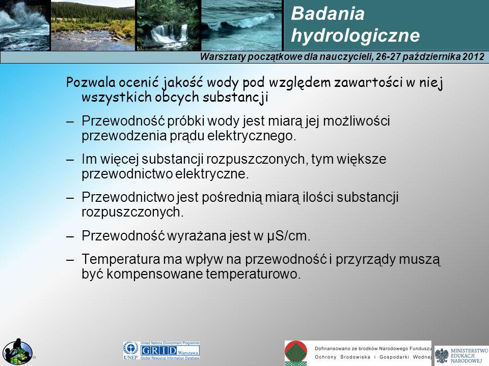 Warsztaty początkowe dla nauczycieli, 26-27 października 2012 Badania hydrologiczne Pozwala ocenić jakość wody pod względem zawartości w niej wszystki