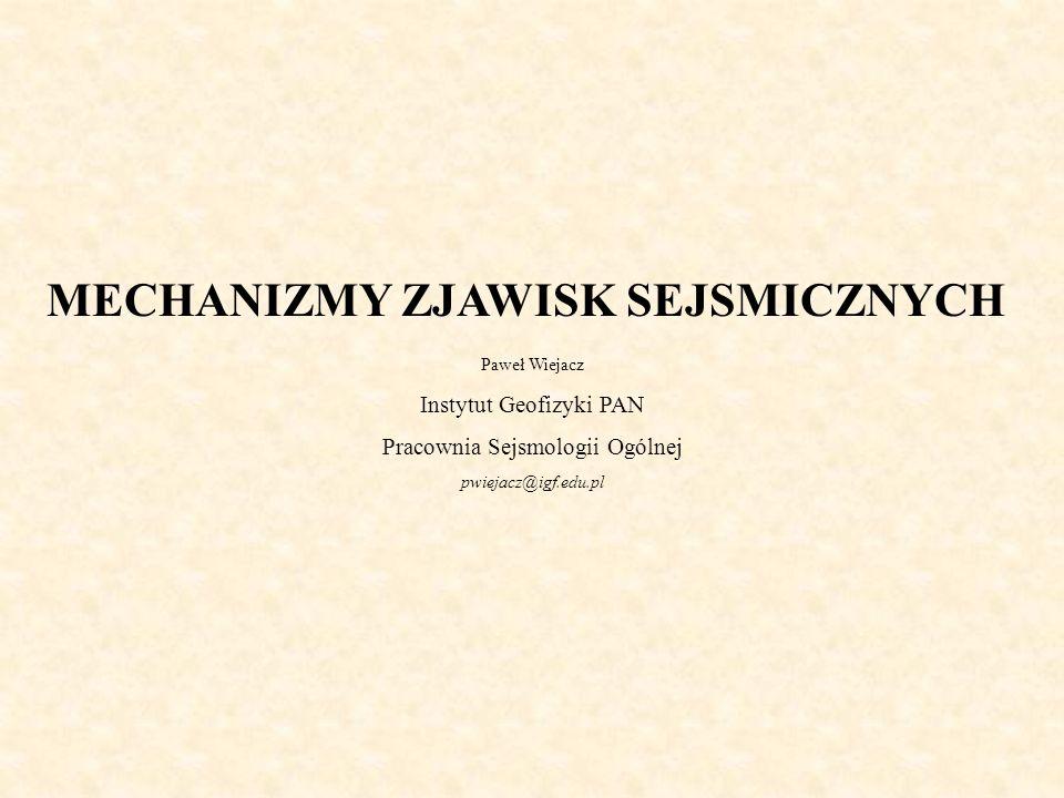 MECHANIZMY ZJAWISK SEJSMICZNYCH Paweł Wiejacz Instytut Geofizyki PAN Pracownia Sejsmologii Ogólnej pwiejacz@igf.edu.pl