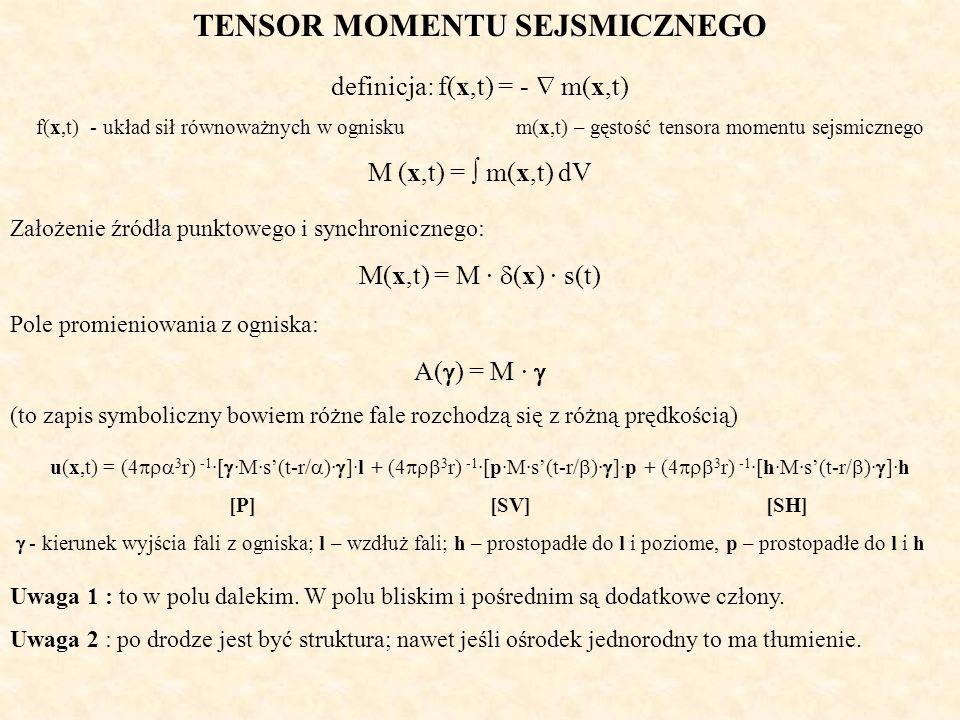 TENSOR MOMENTU SEJSMICZNEGO definicja: f(x,t) = - m(x,t) f(x,t) - układ sił równoważnych w ognisku m(x,t) – gęstość tensora momentu sejsmicznego M (x,