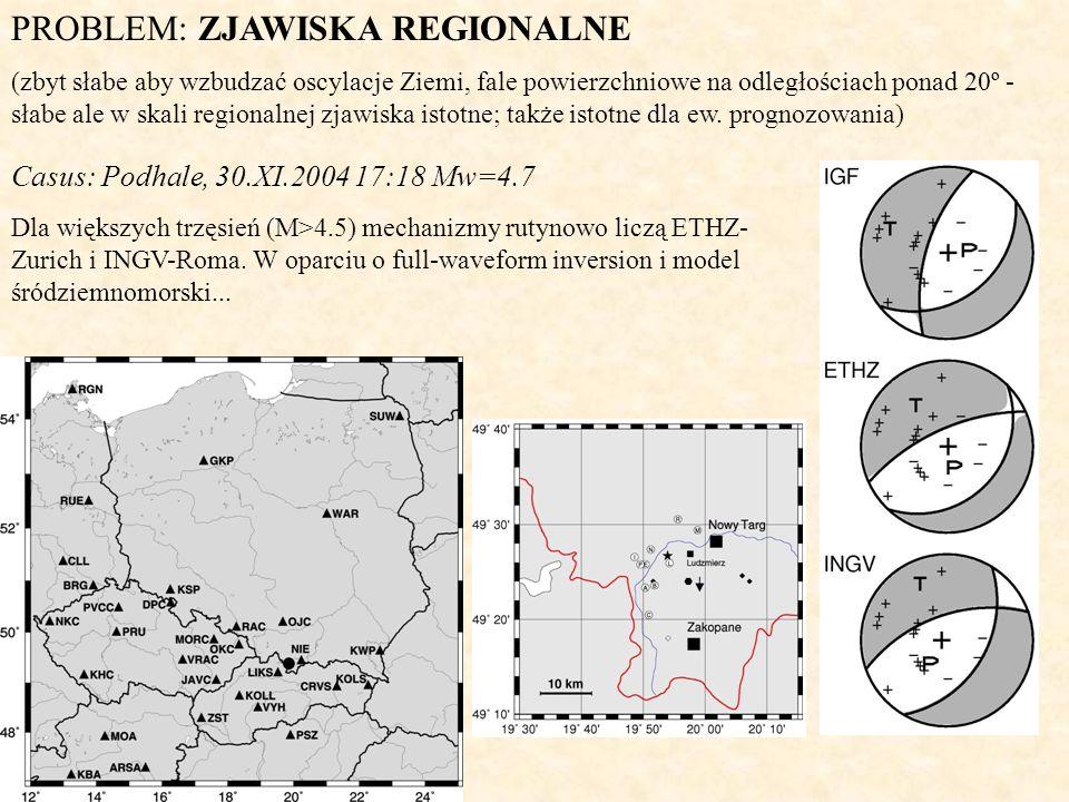 PROBLEM: ZJAWISKA REGIONALNE (zbyt słabe aby wzbudzać oscylacje Ziemi, fale powierzchniowe na odległościach ponad 20º - słabe ale w skali regionalnej