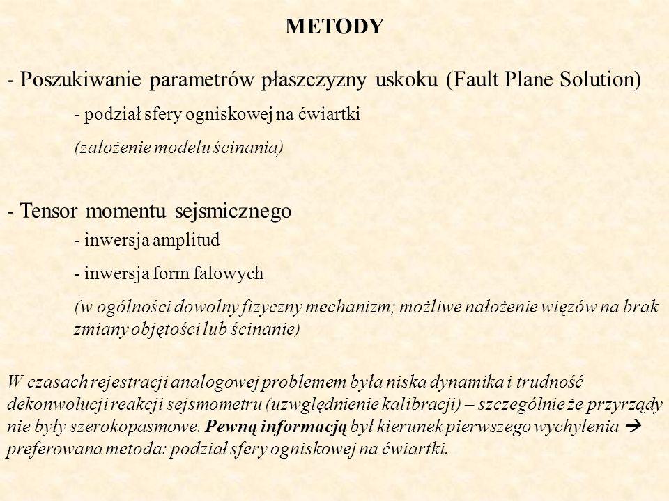 METODY - Poszukiwanie parametrów płaszczyzny uskoku (Fault Plane Solution) - Tensor momentu sejsmicznego - inwersja amplitud - inwersja form falowych