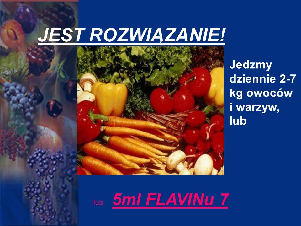 JEST ROZWIĄZANIE! Jedzmy dziennie 2-7 kg owoców i warzyw, lub lub 5ml FLAVINu 7