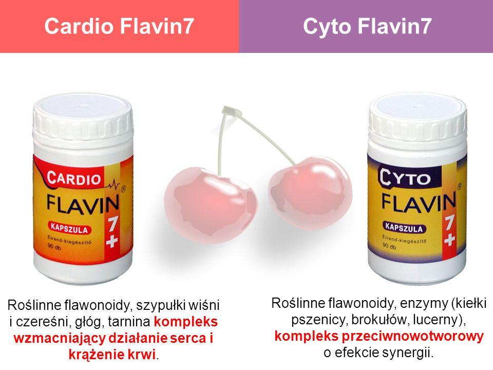 Cardio Flavin7Cyto Flavin7 Roślinne flawonoidy, szypułki wiśni i czereśni, głóg, tarnina kompleks wzmacniający działanie serca i krążenie krwi. Roślin