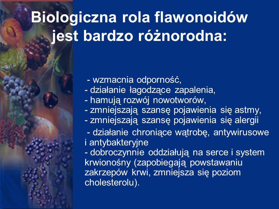 Biologiczna rola flawonoidów jest bardzo różnorodna: - wzmacnia odporność, - działanie łagodzące zapalenia, - hamują rozwój nowotworów, - zmniejszają