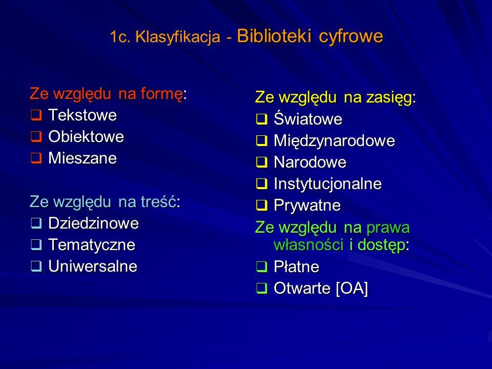 Biblioteki cyfrowe 1c. Klasyfikacja - Biblioteki cyfrowe Ze względu na formę: Tekstowe Tekstowe Obiektowe Obiektowe Mieszane Mieszane Ze względu na tr