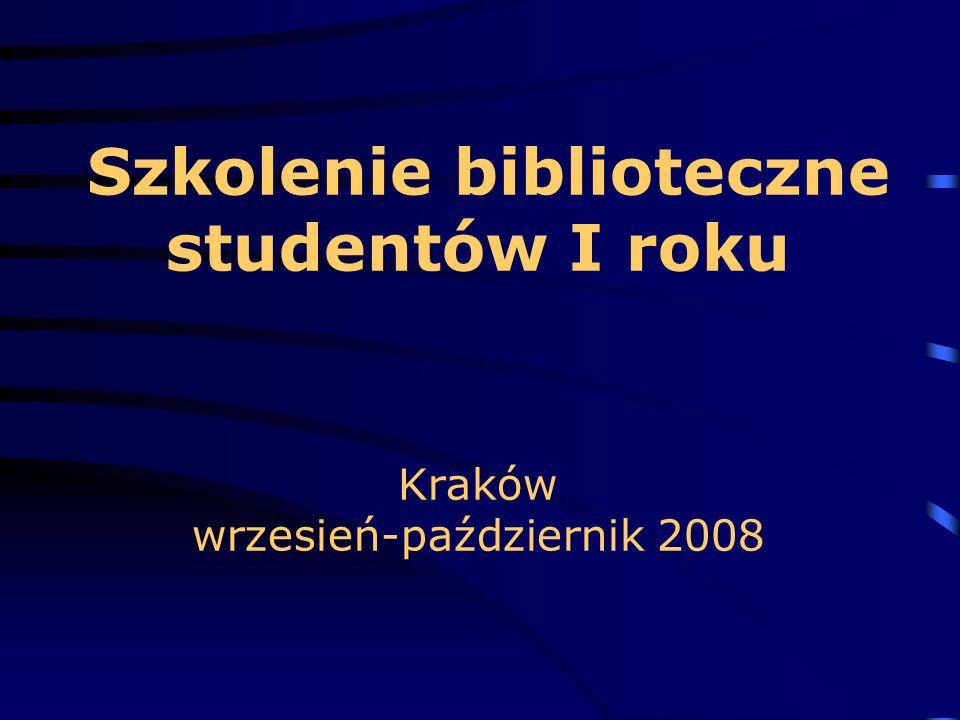 Szkolenie biblioteczne studentów I roku Kraków wrzesień-październik 2008