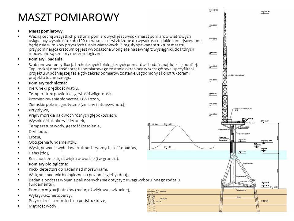 MASZT POMIAROWY Maszt pomiarowy. Ważną cechą wszystkich platform pomiarowych jest wysoki maszt pomiarów wiatrowych osiągający wysokość około 100 m n.p