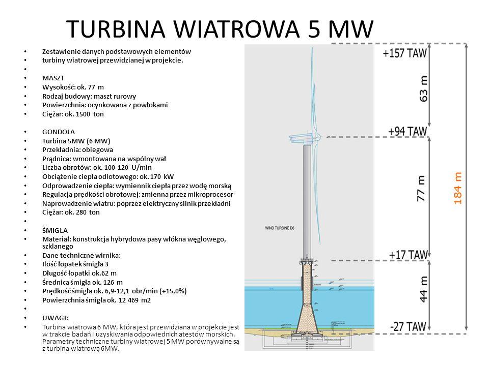 TURBINA WIATROWA 5 MW Zestawienie danych podstawowych elementów turbiny wiatrowej przewidzianej w projekcie. MASZT Wysokość: ok. 77 m Rodzaj budowy: m