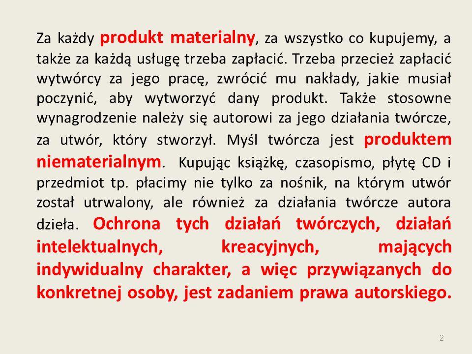 Za każdy produkt materialny, za wszystko co kupujemy, a także za każdą usługę trzeba zapłacić. Trzeba przecież zapłacić wytwórcy za jego pracę, zwróci