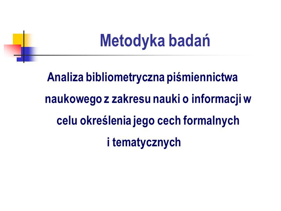 Metodyka badań Analiza bibliometryczna piśmiennictwa naukowego z zakresu nauki o informacji w celu określenia jego cech formalnych i tematycznych