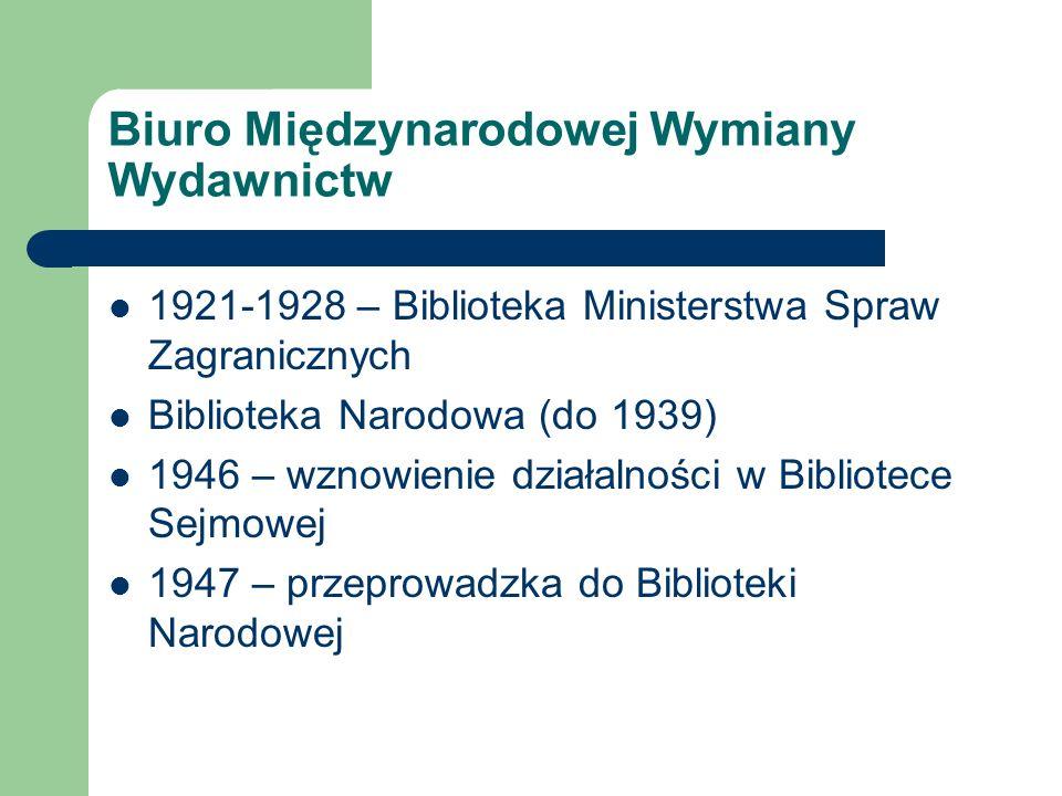 Biuro Międzynarodowej Wymiany Wydawnictw 1921-1928 – Biblioteka Ministerstwa Spraw Zagranicznych Biblioteka Narodowa (do 1939) 1946 – wznowienie dział