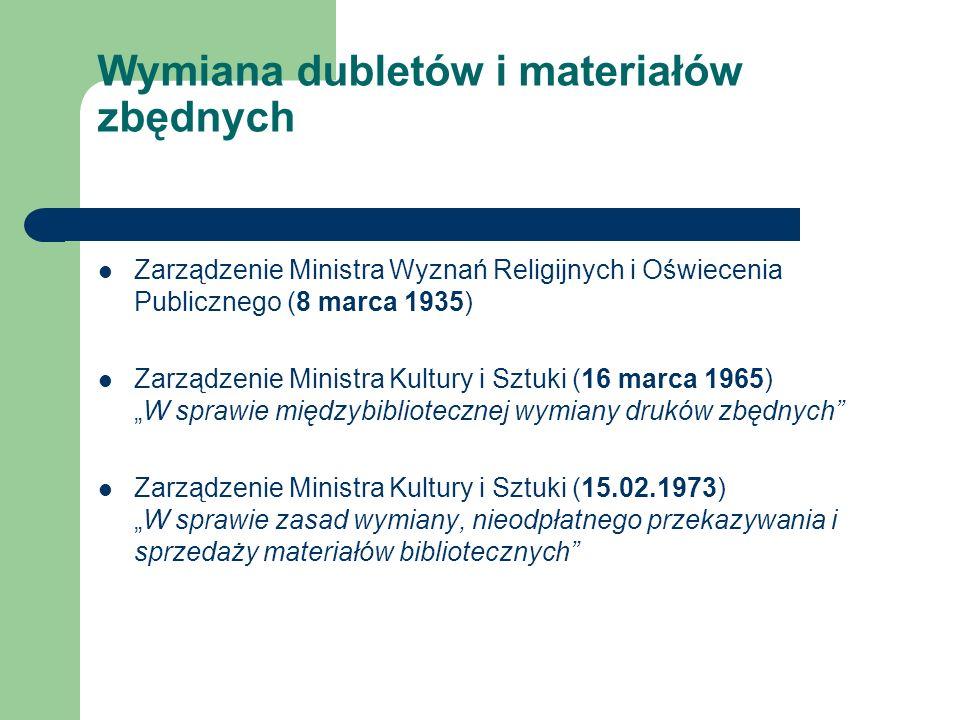 Wymiana dubletów i materiałów zbędnych Zarządzenie Ministra Wyznań Religijnych i Oświecenia Publicznego (8 marca 1935) Zarządzenie Ministra Kultury i