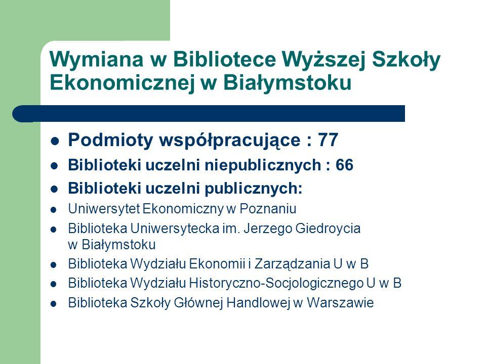 Wymiana w Bibliotece Wyższej Szkoły Ekonomicznej w Białymstoku Podmioty współpracujące : 77 Biblioteki uczelni niepublicznych : 66 Biblioteki uczelni