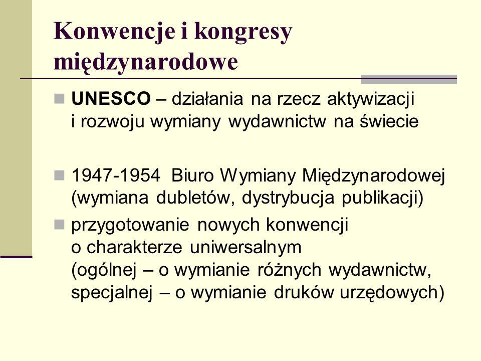 Konwencje i kongresy międzynarodowe UNESCO – działania na rzecz aktywizacji i rozwoju wymiany wydawnictw na świecie 1947-1954 Biuro Wymiany Międzynaro