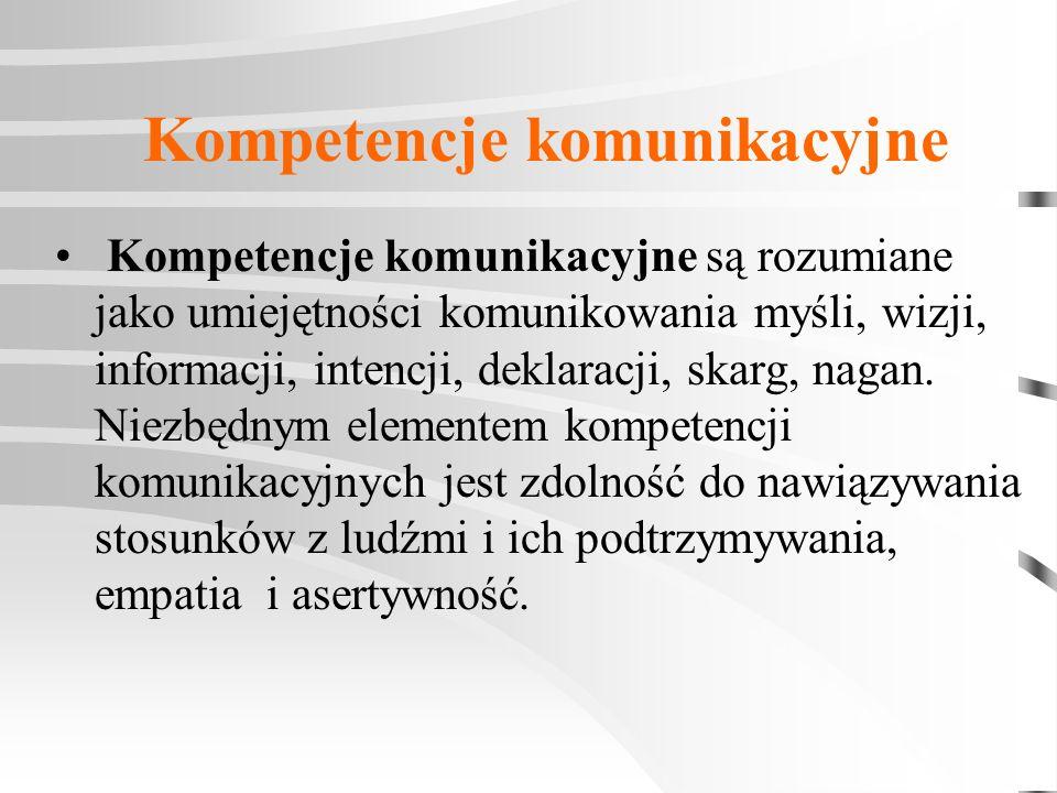 Kompetencje komunikacyjne Kompetencje komunikacyjne są rozumiane jako umiejętności komunikowania myśli, wizji, informacji, intencji, deklaracji, skarg