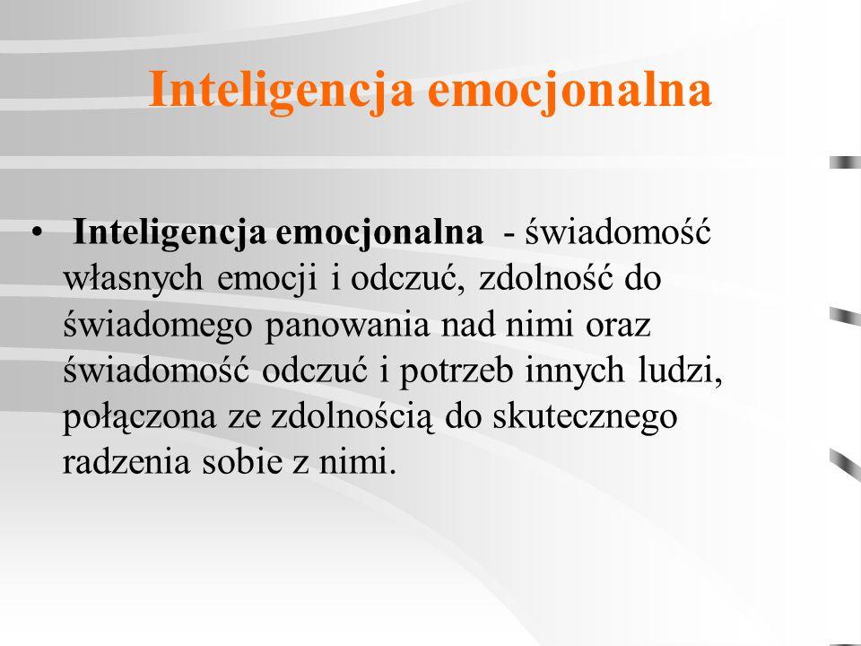 Inteligencja emocjonalna Inteligencja emocjonalna - świadomość własnych emocji i odczuć, zdolność do świadomego panowania nad nimi oraz świadomość odc