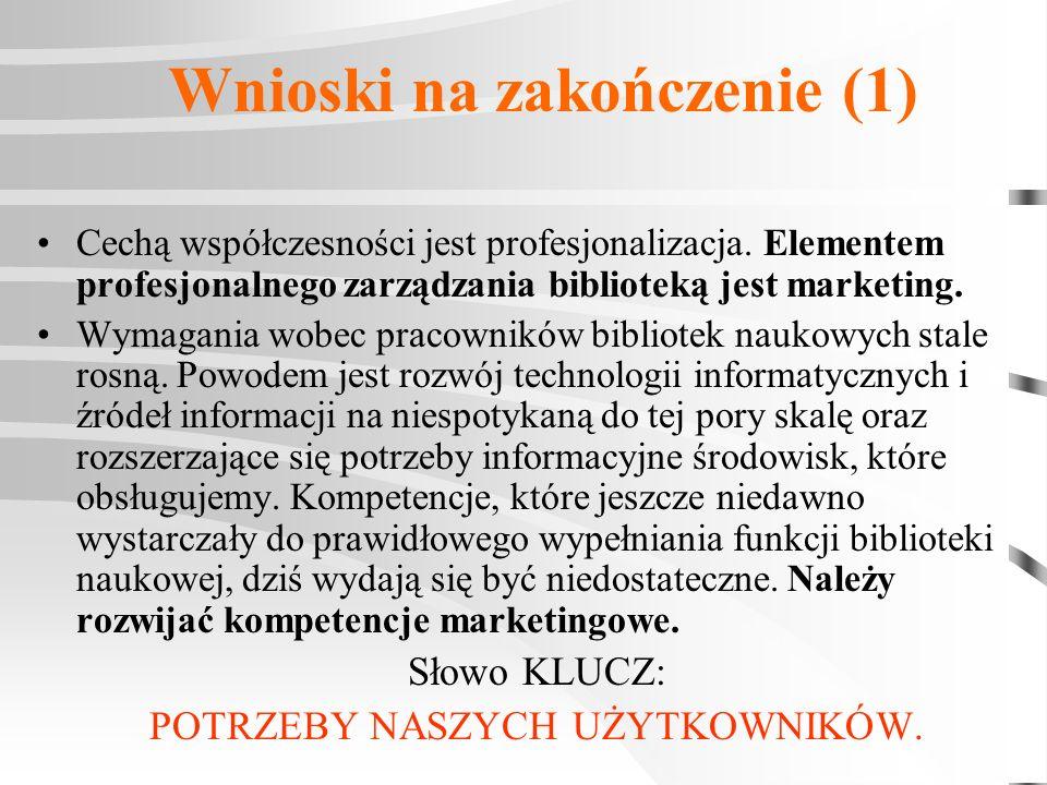 Wnioski na zakończenie (1) Cechą współczesności jest profesjonalizacja. Elementem profesjonalnego zarządzania biblioteką jest marketing. Wymagania wob