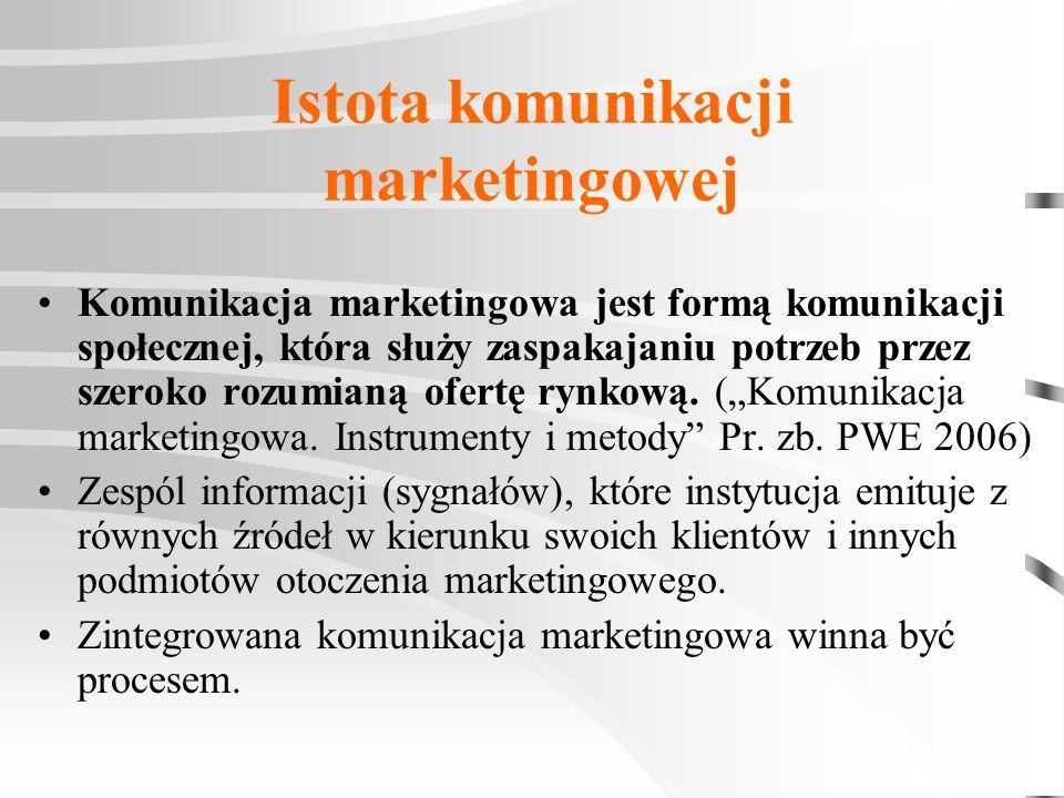 Istota komunikacji marketingowej Komunikacja marketingowa jest formą komunikacji społecznej, która służy zaspakajaniu potrzeb przez szeroko rozumianą