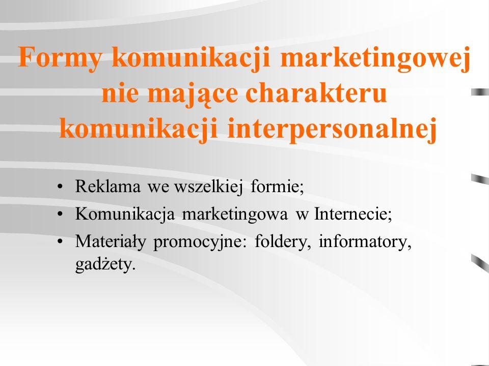 Formy komunikacji marketingowej nie mające charakteru komunikacji interpersonalnej Reklama we wszelkiej formie; Komunikacja marketingowa w Internecie;