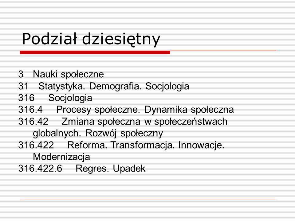 Podział dziesiętny 3Nauki społeczne 31 Statystyka. Demografia. Socjologia 316 Socjologia 316.4 Procesy społeczne. Dynamika społeczna 316.42 Zmiana spo