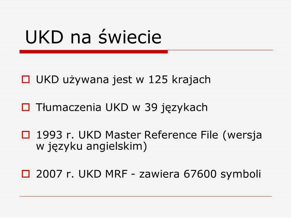 UKD używana jest w 125 krajach Tłumaczenia UKD w 39 językach 1993 r. UKD Master Reference File (wersja w języku angielskim) 2007 r. UKD MRF - zawiera