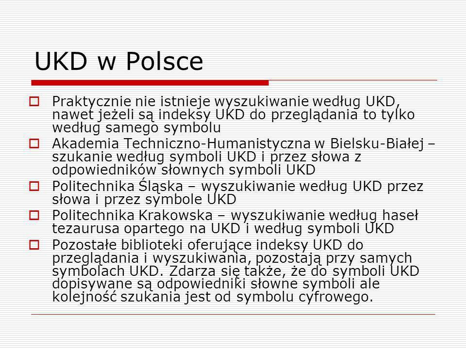 UKD w Polsce Praktycznie nie istnieje wyszukiwanie według UKD, nawet jeżeli są indeksy UKD do przeglądania to tylko według samego symbolu Akademia Tec