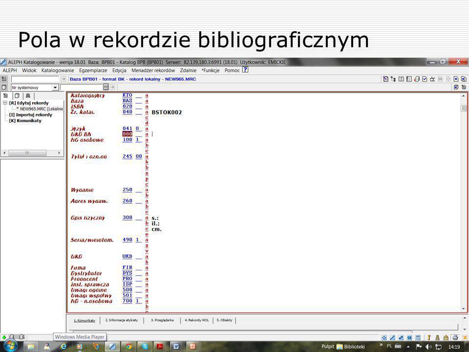 Pola w rekordzie bibliograficznym