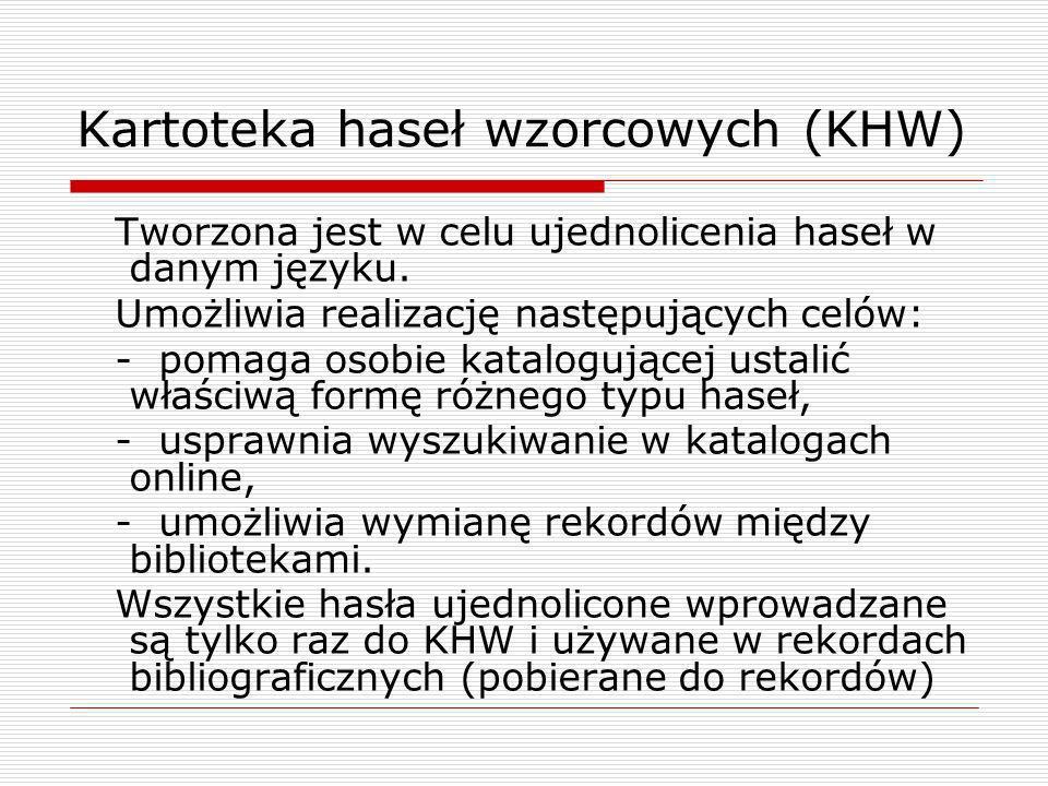 Kartoteka haseł wzorcowych (KHW) Tworzona jest w celu ujednolicenia haseł w danym języku. Umożliwia realizację następujących celów: - pomaga osobie ka
