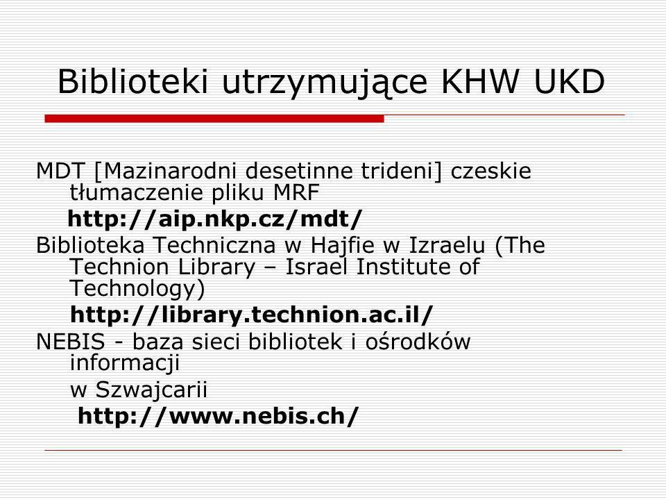 Biblioteki utrzymujące KHW UKD MDT [Mazinarodni desetinne trideni] czeskie tłumaczenie pliku MRF http://aip.nkp.cz/mdt/ Biblioteka Techniczna w Hajfie